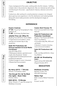 Final CV: I cut out the expertise section as I'm not pursuing a techinical pathway